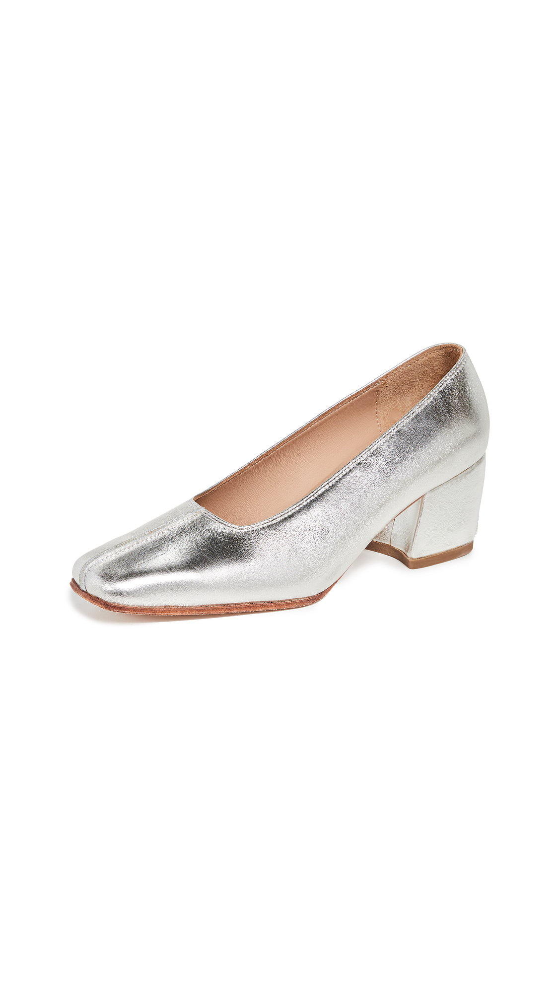 NO. 6 Ada Block Heel Pumps in Silver Foil