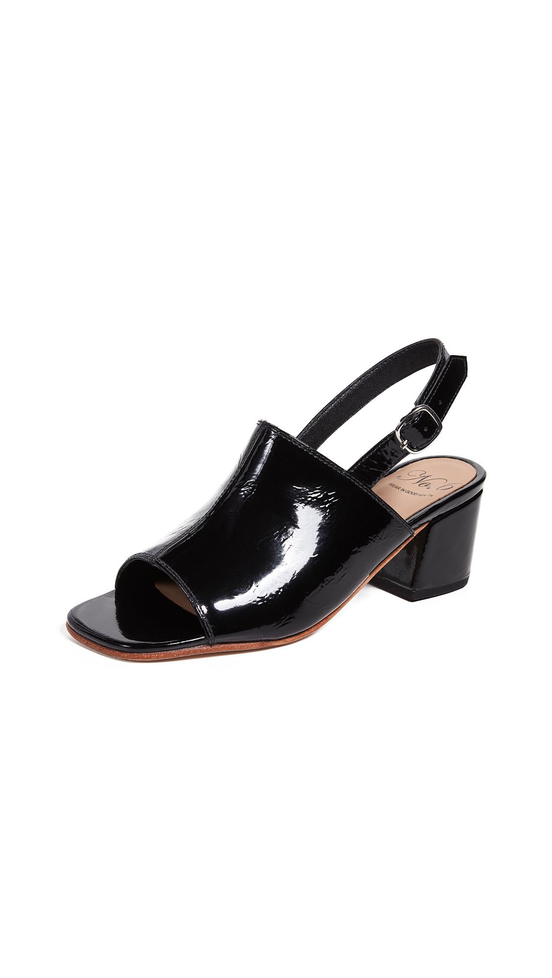No.6 Leah Sandals - Black Crinkle