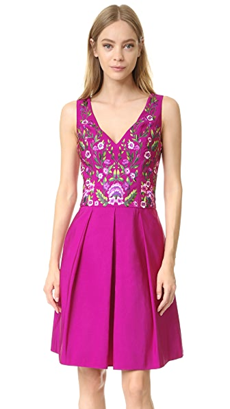 Marchesa Notte Cocktail Dress with Floral Embroidery - Fuchsia