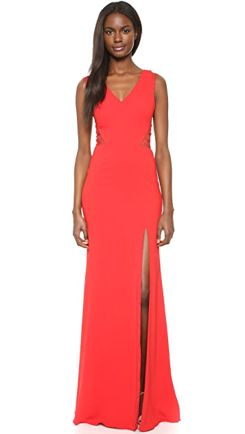 Marchesa Notte Sleeveless Gown with Slit