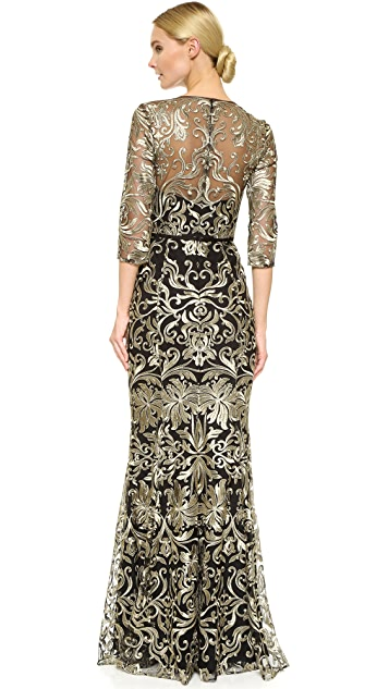 Marchesa Notte Embroidered Gown with Long Sleeves