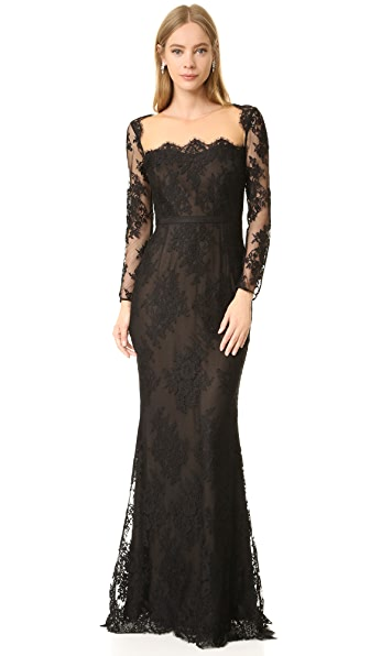 Marchesa Notte Long Sleeve Lace Gown