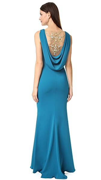 Marchesa Notte Crepe Gown with Cowl Back and Embroidered Back Insert