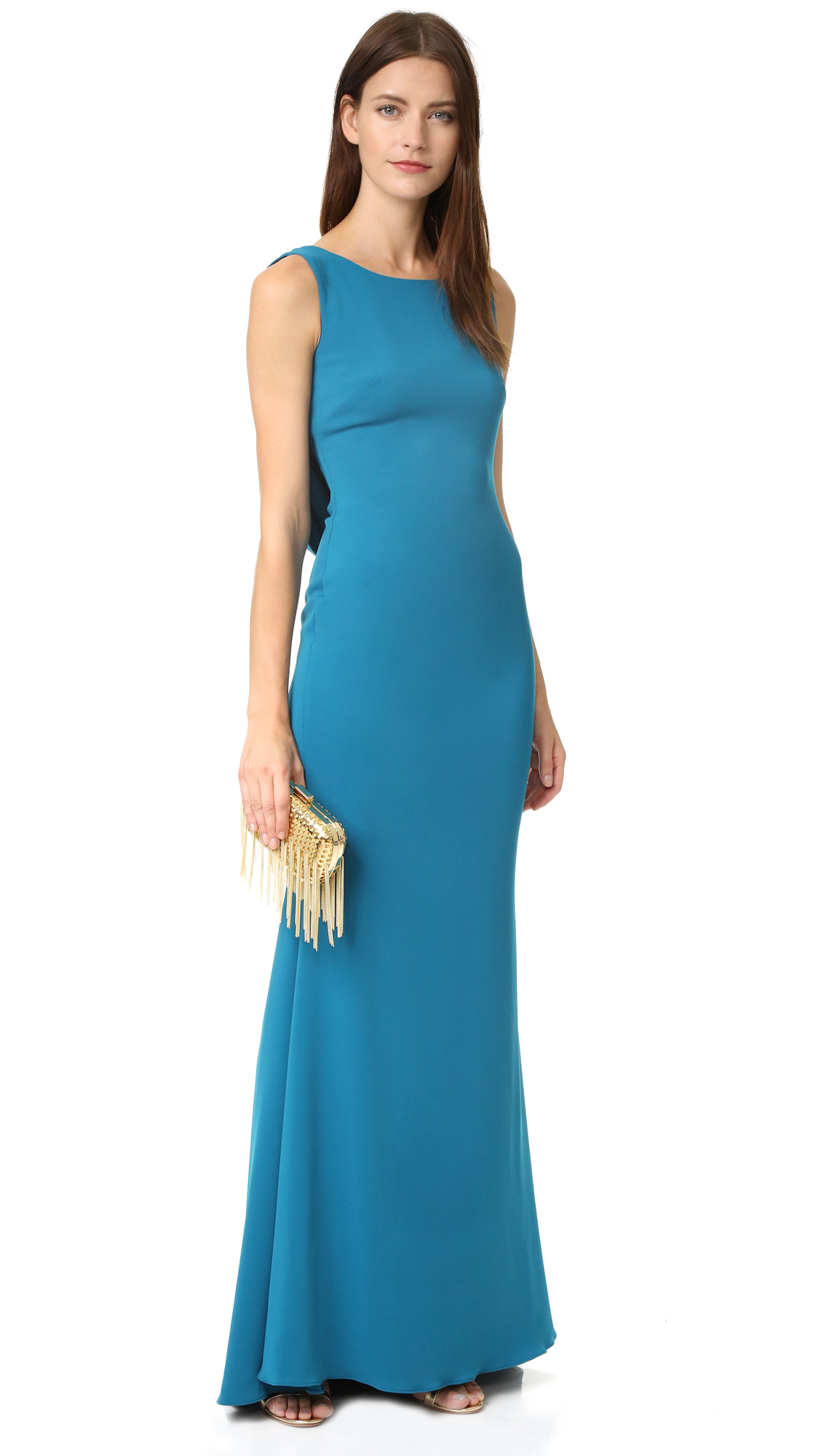 Marchesa Notte Crepe Gown with Cowl Back and Embroidered Back Insert ...