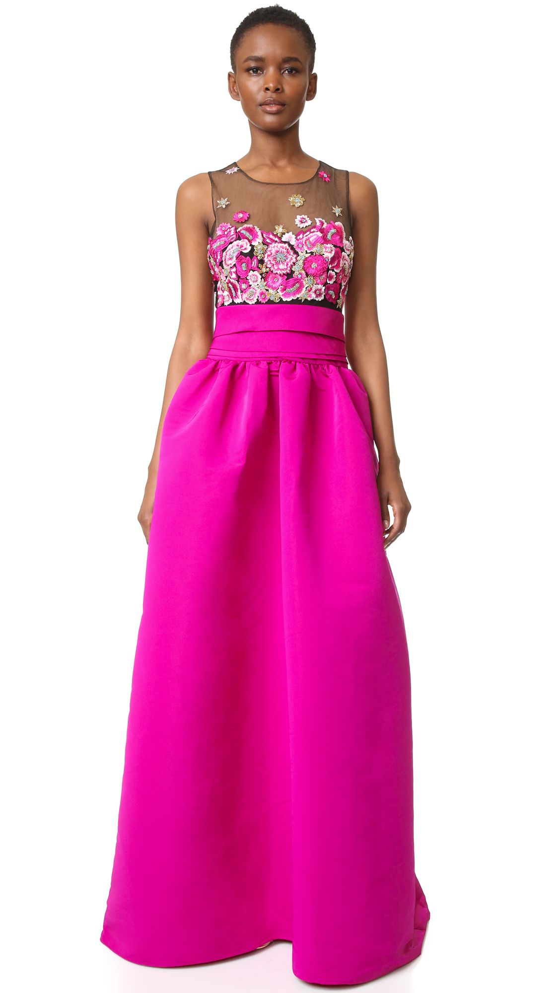Marchesa Notte Embroidered Ball Gown With Pockets - Fuchsia | Shop ...