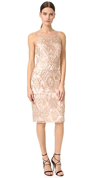 Marchesa Notte Embroidered Sheath Dress