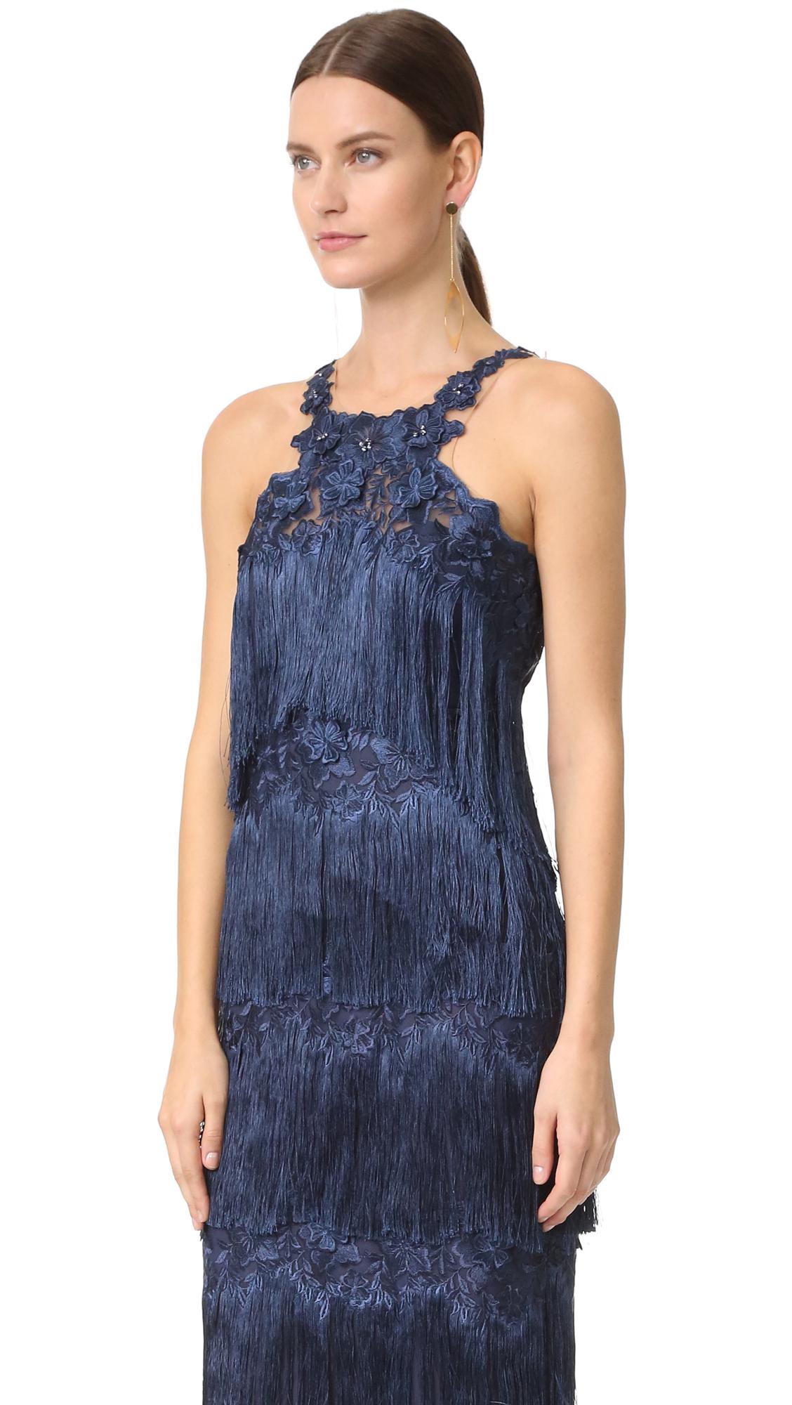 Marchesa Notte Fringe Cocktail Dress | SHOPBOP