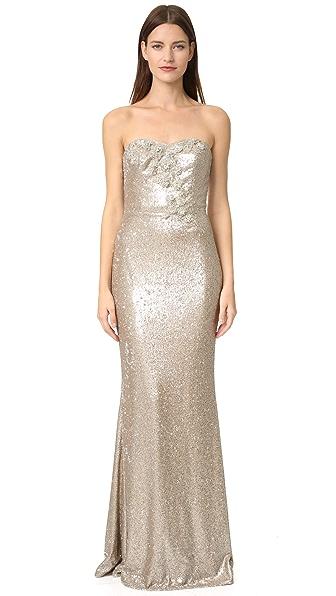 Marchesa Notte Strapless Sequin Gown