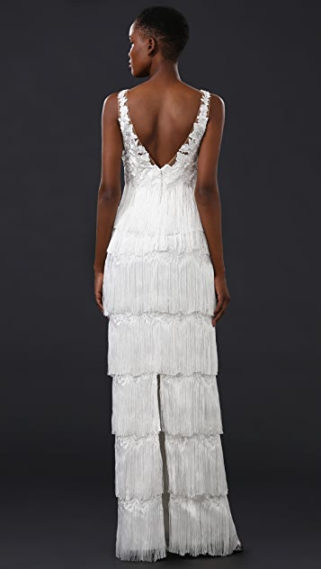 Marchesa Notte Fringed Gown with Embroidered Bodice