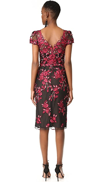 Marchesa Notte Threadwork Embroidered Sheath Dress