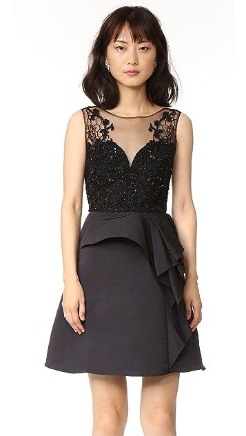 Marchesa Notte Draped Cocktail Dress