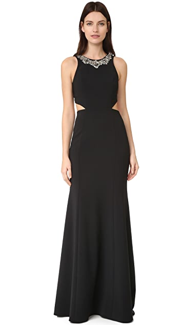 Marchesa Notte Crepe Gown with Cutouts