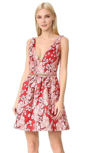 Marchesa Notte Sleeveless Leopard Cocktail Dress