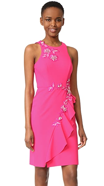 Marchesa Notte Draped Cocktail Dress In Pink