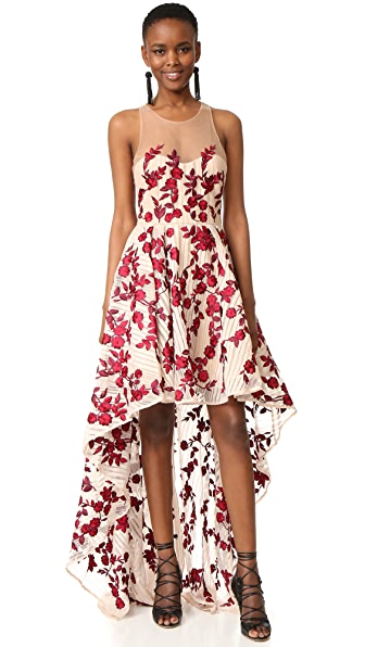 Marchesa Notte High Low Striped Gown
