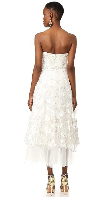 Marchesa Notte Strapless Butterfly Dress