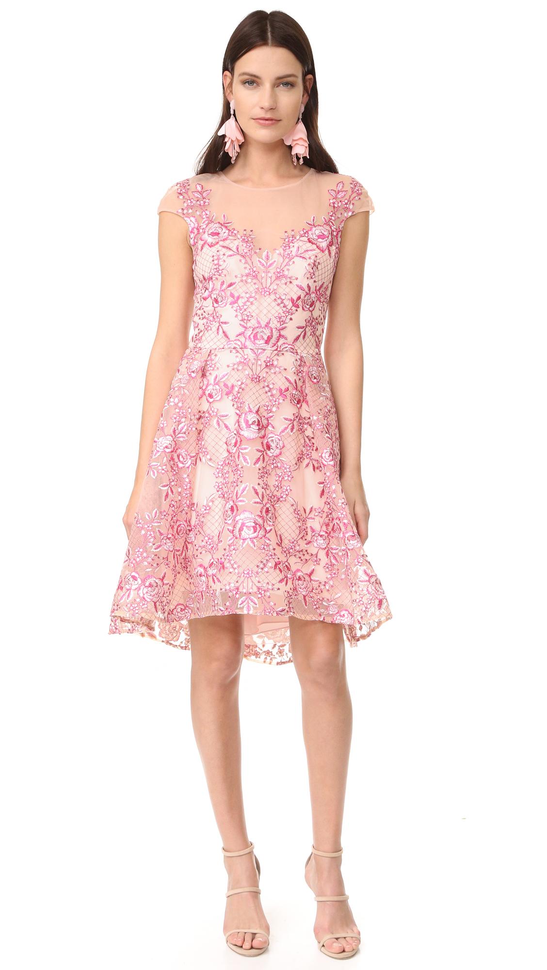 Marchesa Notte Cap Sleeve Cocktail Dress   SHOPBOP