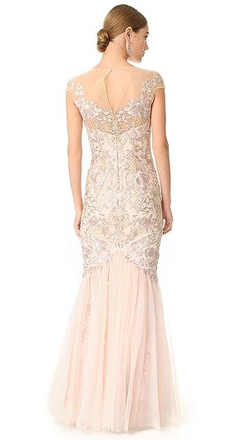 Marchesa Notte Cap Sleeve Gown