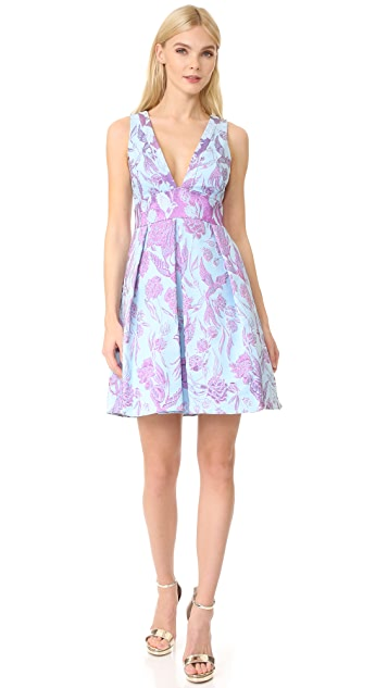 Marchesa Notte V Neck Metallic Floral Dress