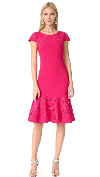 Marchesa Notte Laser Cut Short Sleeve Dress