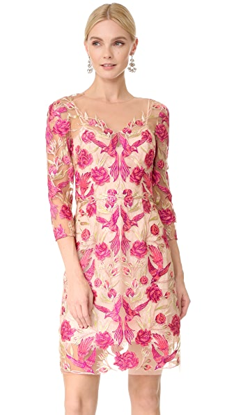 Marchesa Notte Embroidered Cocktail Dress In Fuchsia