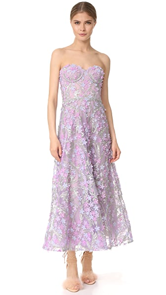 Marchesa Notte Embroidered Strapless Tea Length Gown
