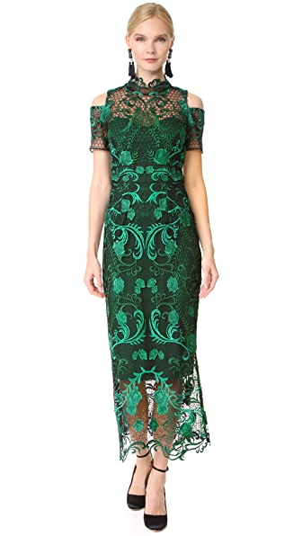 Marchesa Notte Cold Shoulder Cocktail Dress - Green