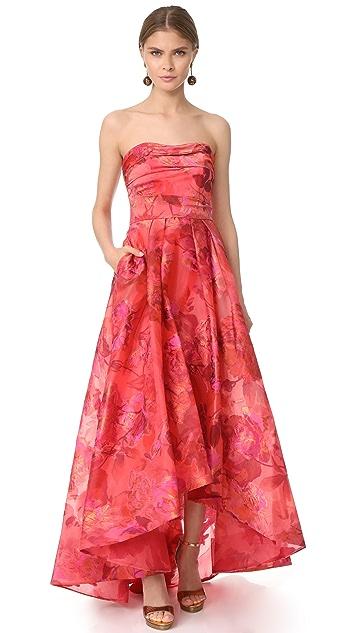 Marchesa Notte Strapless High Low Dress