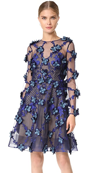 Marchesa Notte Embroidered Cocktail Dress at Shopbop