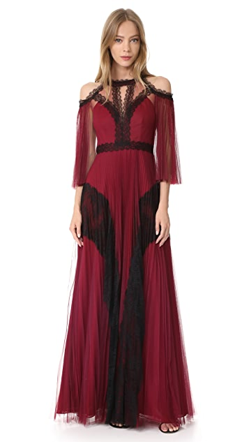 Marchesa Notte Pleated Tulle Gown