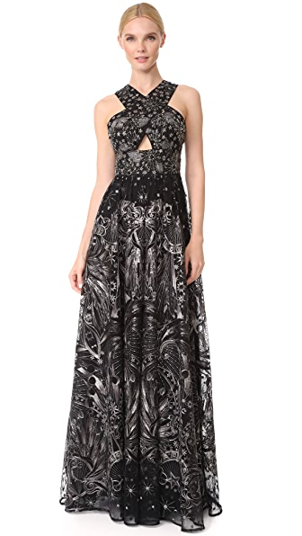 Marchesa Notte Embroidered Gown - Gunmetal