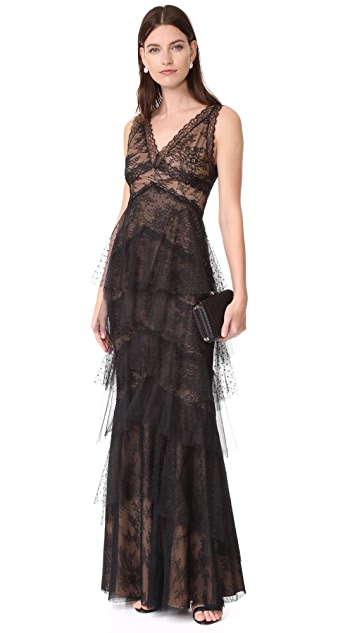 Marchesa Notte Lace Gown with Tulle Skirt