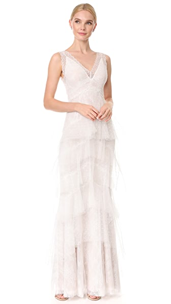 Marchesa Notte Lace Gown with Tiered Skirt