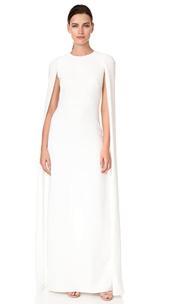 Marchesa Notte Cape Gown In Ivory