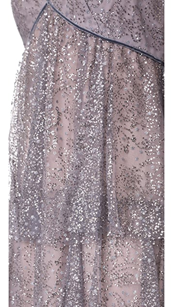 Marchesa Notte Glitter Tulle Tiered Gown