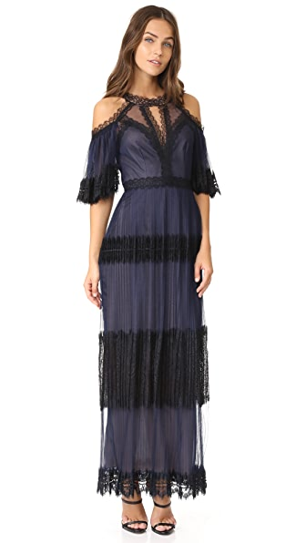 Marchesa Notte Pleated Cocktail Dress - Navy