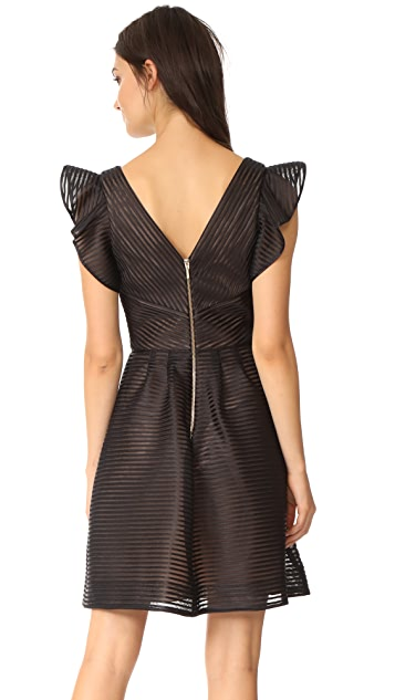 Marchesa Notte Ribbed Cocktail Dress