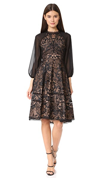 Marchesa Notte Guipure Cocktail Dress In Black