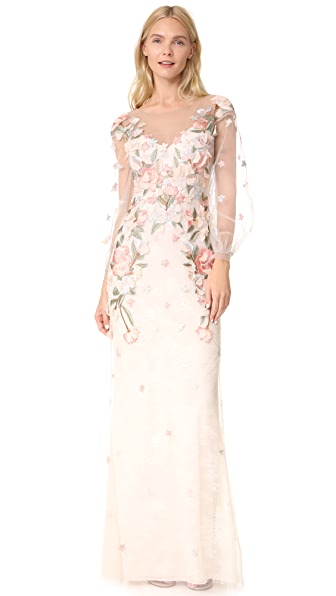Marchesa Notte Beaded Gown with Bishop Sleeve In Blush