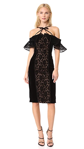 Marchesa Notte French Lace Panel Dress In Black