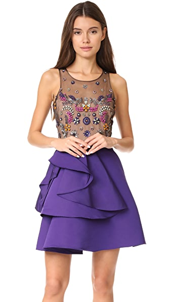 Marchesa Notte Faille A-Line Cocktail Dress In Purple
