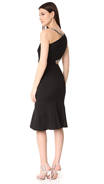 Marchesa Notte Cutout Beaded Cocktail Dress
