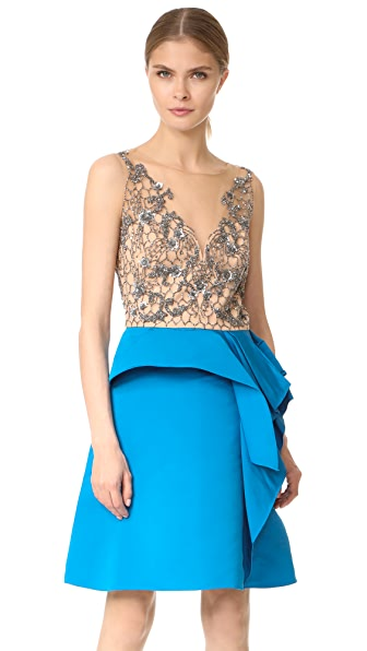 Marchesa Notte Drapped Faille Cocktail Dress