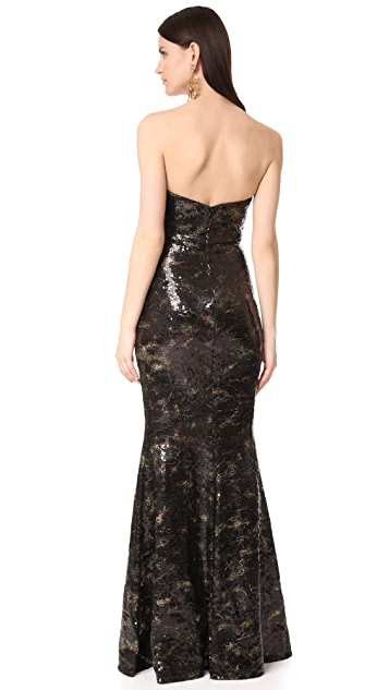 Marchesa Notte Stretch Print Sequin Gown