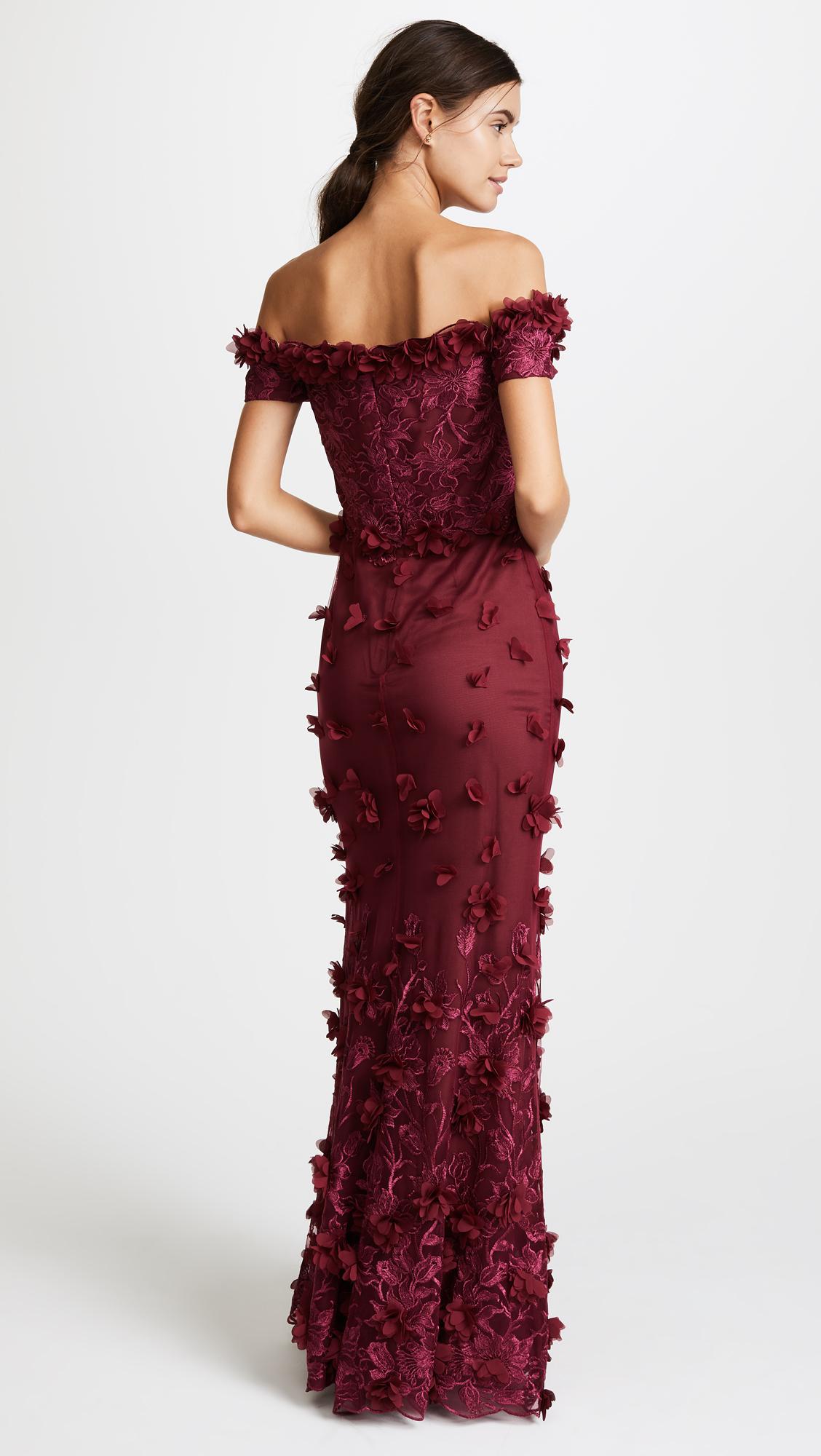 c9498e291af Marchesa Notte Off the Shoulder Embroidered Gown