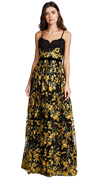 Marchesa Notte Embroidered Gown with Lace Bodice at Shopbop
