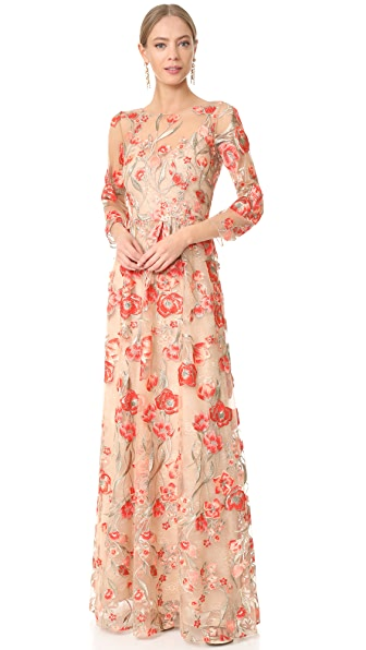 Marchesa Notte Embroidered Gown with Lace Slip - Coral
