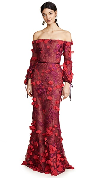 Marchesa Notte Off Shoulder Embroidered Gown In Red