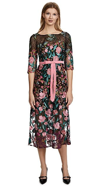 Marchesa Notte Allover Thread Embroidered Cocktail Dress