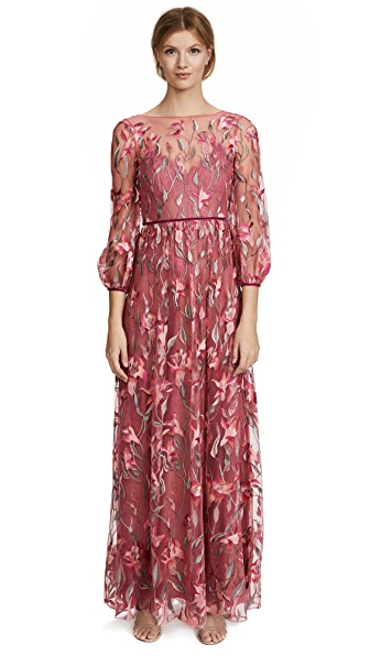 Marchesa Notte Embroidered Gown with Bishop Sleeve In Coral
